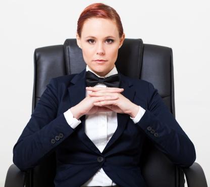 cool fashion woman sitting on chair